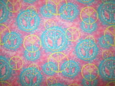 PEACE SYMBOLS TIE DYE PINK BLUE YELLOW COTTON FABRIC FQ