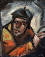 """Russischer Realist Expressionist Öl Lein. Pappe """"Arbeiter"""" 23x18 cm"""