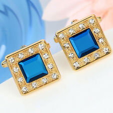 Mens Gold Square Cuff links Saphire Blue Crystal Diamond Shirt Stud Vintage Gift