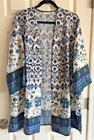 Susan Graver Black & Cream Long Open Front Polyester Jacket - Size Large