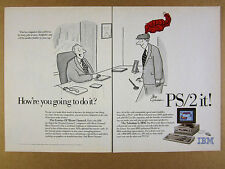 1989 IBM Personal System/2 PS/2 PC Computer leo cullum cartoon vintage print Ad