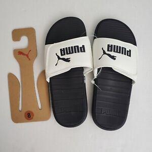 Puma Cool Cat V Size 8 White Black Logo Adjustable Snap Men's Slide Sandals NWT
