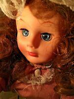 "Vintage Animated and Illuminated Christmas Figure 24"" Victorian doll on stand"