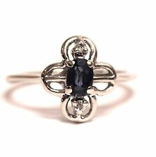 14k white gold .03ct SI2 H diamond sapphire ring 2.1g estate ladies vintage