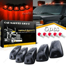 5 Smoke Cover Lens Cab Marker Roof Red LED Light for Chevy GMC C1500 C2500 C3500