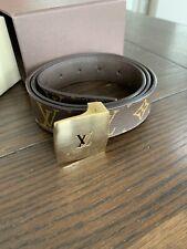 Authentic Louis Vuitton Brown Monogram Canvas Ceinture Men's Belt Gold 90 36