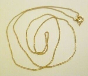 """LADIES GIRLS 9CT YELLOW GOLD FINE CURB CHAIN NECKLACE not scrap 0.6mm 18"""" 0.62g"""