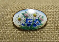 Vintage 1900'S Porcelain Brooch On Brass. Hand Painted Daisies, Family Heirloom