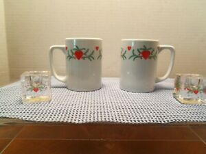 Porcelain of Norway   Hearts & Pines pattern,   2 Mugs & 2 Glass Candle Holders