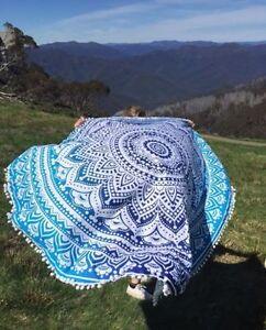 Beach Ombre Mandala Yoga Mat Pom Pom Wall Hanging Throw Tapestry Towel Round