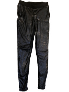 Torrid Womens Sequined Leggings Black Stretch Elastic Waist Pull Ons M/L 00 New