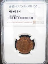 1863 H Haiti 10 Centimes, NGC MS 63