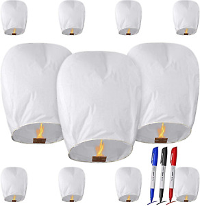 11 Pack Chinese Lanterns Paper Lanterns With 3 Pens For Beach Party White NEW