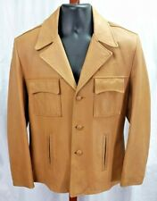 Vintage Remy Leather Fashions Beige Three Button Soft Leather Jacket Size 40