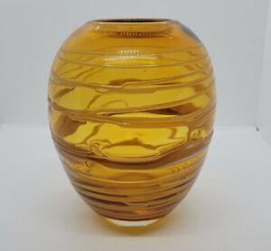 Vintage Murano amber glass vase Italian art glass