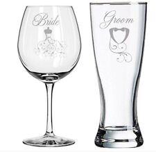 Bride Groom Toasting Glasses Wine & Beer Set Original Gift