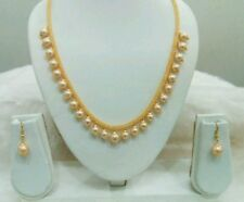 Ethnic Indian Women Mash Rhodium Filled Chain Pearl Beaded Necklace Jewelery Set