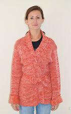 Vintage 70's Mod Hippie Orange White Knit Cardigan Sweater W/ Belt - Medium