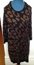 ESTELLE Black Copper Metallic Thread Knit Stretch Winter Long Sleeve Dress ~ S