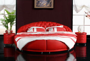 Chesterfield Round Bed XXL Designer Double Upholstered Red Immediate