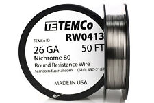 TEMCo Nichrome 80 series wire 26 Gauge 50 FT Resistance AWG ga