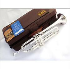 Silver Plated Bach Trumpet Stradivarius Trumpet Professional High Grade Case DHL