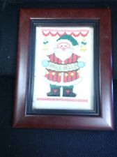 Jingle Bells Santa Claus Cross Stitch, Framed, 9� x 7�