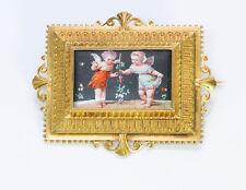 Antique Victorian Cherubs Cupids Angles 18K Yellow Gold Brooch