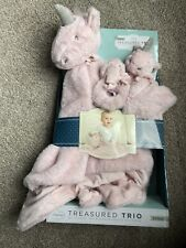 New Little Miracles Treasured Unicorn Pink Baby Security Blanket, Lovey & Rattle