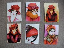 Lot Of 6 Red Hat Lady ACEO sized ART PRINTS of original paintingsatc woman art