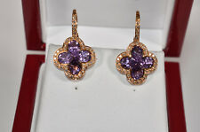 Amethyst & Diamond Earrings 18K Rose Gold