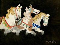 "M.JANE DOYLE SIGNED ORIGINAL ART OIL/CANVAS PAINTING ""CAROUSEL HORSES"" FRAMED"