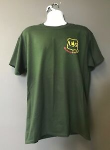 USFS FOREST SERVICE Agriculture WILDLAND FIRE SAFETY Hunter Green Morale T-Shirt