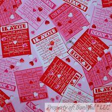 BonEful FABRIC FQ Cotton Quilt Pink Red White Valentine BINGO Game Heart Girl NR