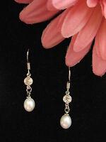 Ohrring echte Süßwasserperlen 925 Silber Perlen schmuck Zyrkon Zuchtperlen  weiß