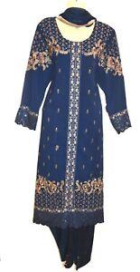 Navy Embroidery Dress Kurta Shalwar Kameez Churidaar Suit Bollywood Pakistani