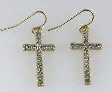 4031217 Cross Earrings with CZ Stones Beautiful Brushed Gold Plated Design Ch...