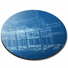 Round Mouse Mat - 3D House Plans Blueprint Office Gift #2385
