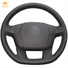 1 set Black Hand-sewn Leather Steering Wheel Cover Wrap for Citroen C4 C4L