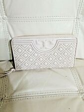 $248 Authentic Tory Burch Fleming Continental Zip Wallet Quilted Nude beige