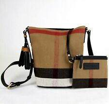 Burberry Brown/Blk Canvas Check Mini Ashby Tassel Crossbody Bag w/pouch 3997284