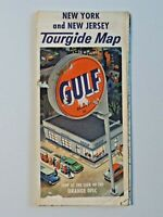 Vintage Gulf Oil Tourguide Map New York and New Jersey Folded Paper 1950's 7301