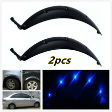 2X Black Car Fenders Wheel Eyebrow Protector Sticker w/ Blue LED Lights Race Car
