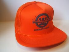 WAA Charlotte NC Textured Print Logo Hat Vintage Orange Snapback Trucker Cap