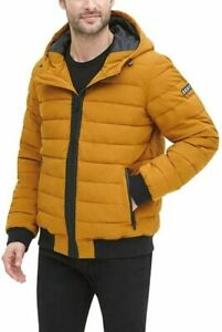 DKNY mens Quilted Performance Hooded Bomber XX-Large, Gold Matte Stretch