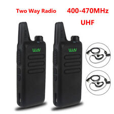 2pcs WLN KD-C1 UHF 400-470 MHz Two Ways Ham Radio Walkie Talkie+2X Free Headsets