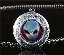 Metal Alien Head Photo Cabochon Glass Tibet Silver Locket Pendant Necklace