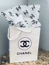 New Chanel Shopping Gift Bag White Glossy 1 Pc Chanel Tissue Included