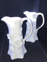 2 ANTIQUE REFLECTIONS WHITE IVORY 3-D ROSEMARY FLOWER CERAMIC PITCHER