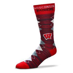 For Bare Feet Wisconsin Badgers Fan Nation Socks NCAA OSFM Dress Socks FREE SHIP